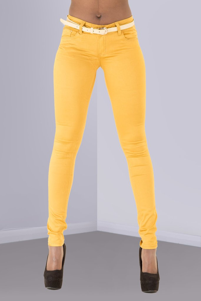 2d567e7f19b5 Want to buy sexy summer jeans Gold Belted Mustard Yellow Trousers